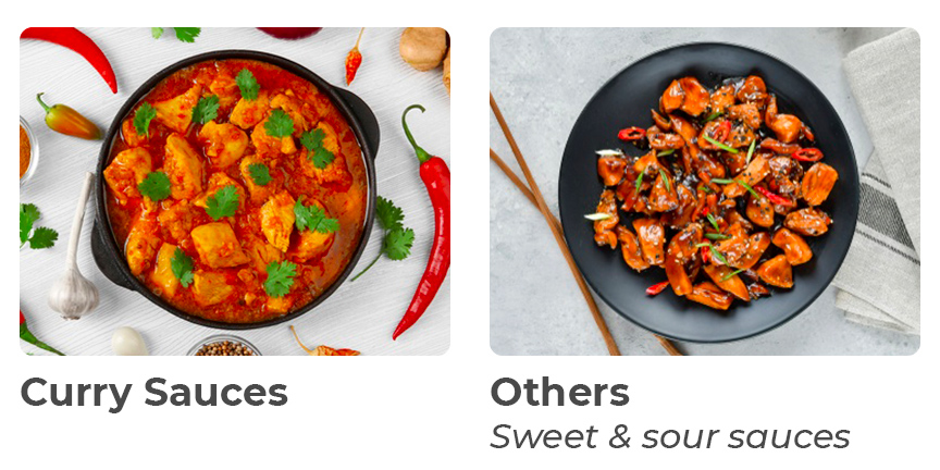 Curry sauces, others, sweet and sour sauces